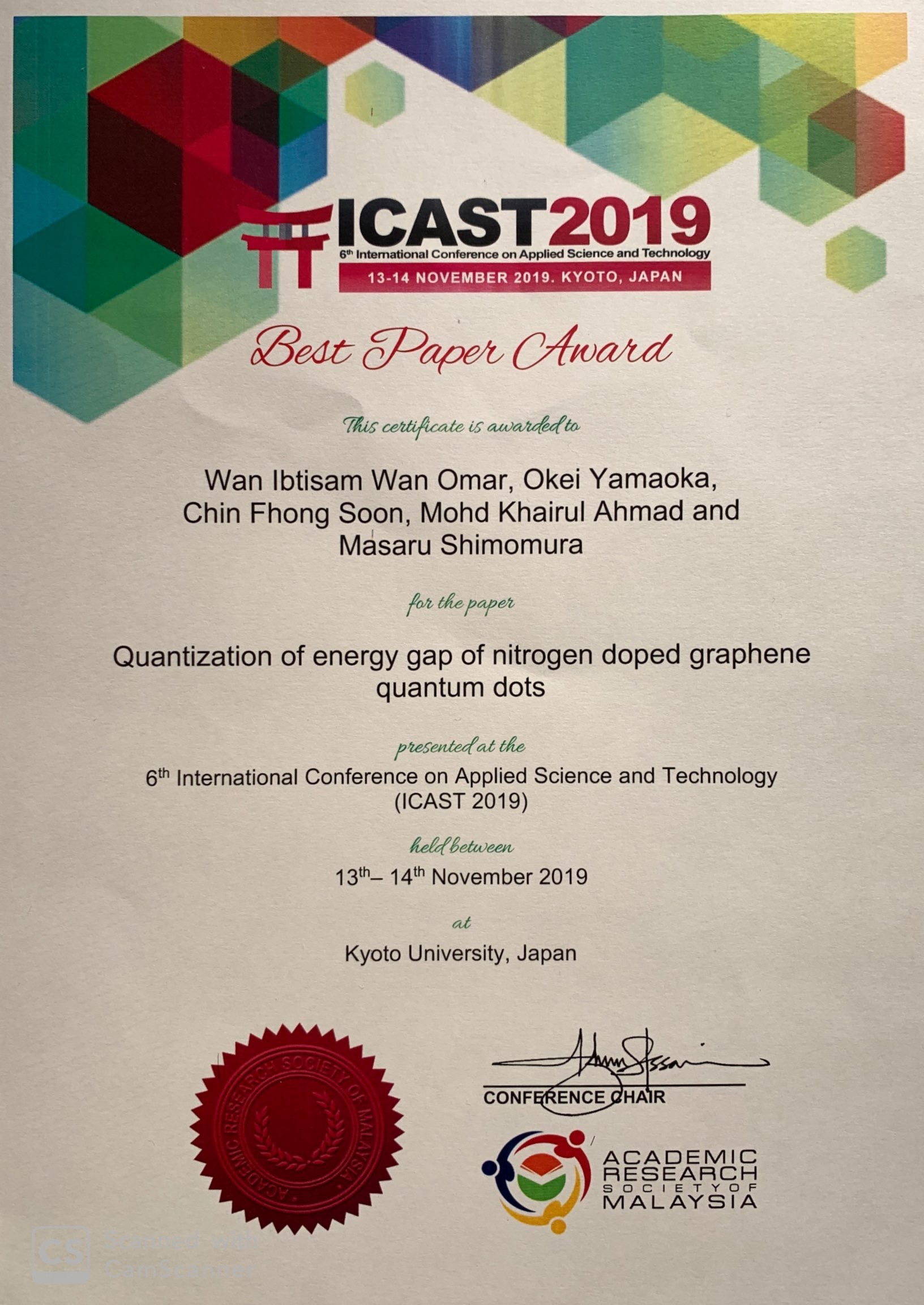 Best Paper Award ICAST2019